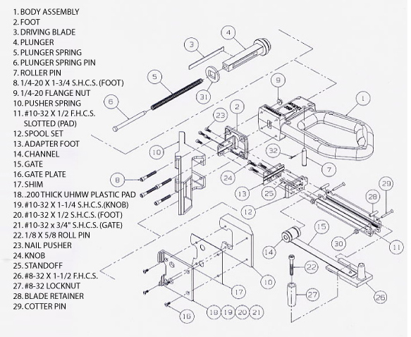 schematic for model 250 manual nailer, Schematic
