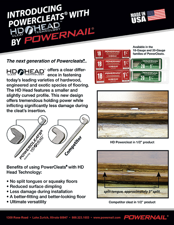 Powernail HD HEAD cleat technology