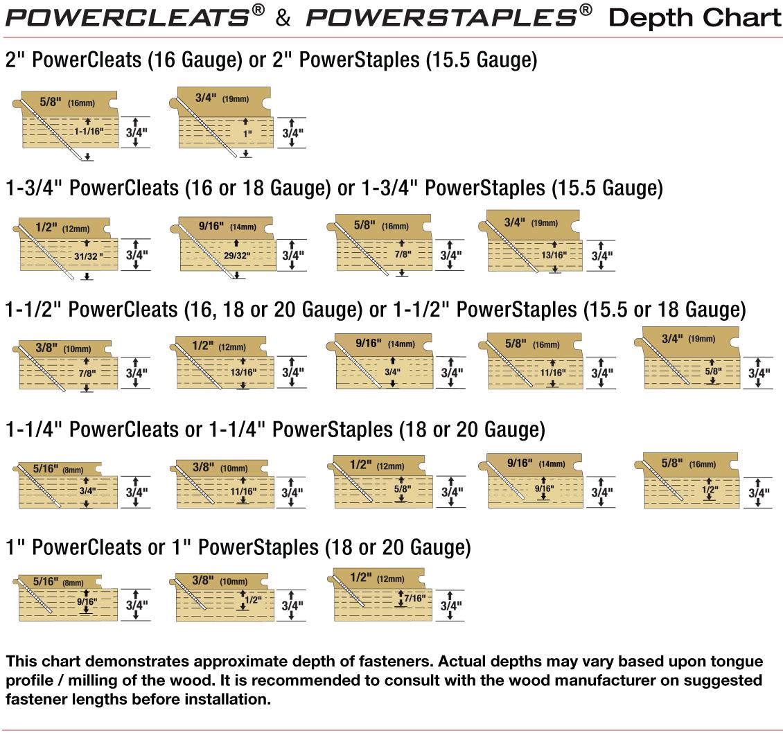 Fastener (cleat & staple) Depth Chart